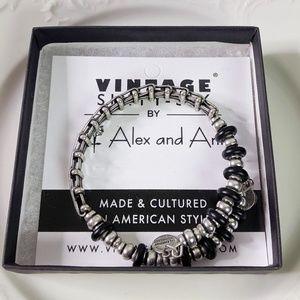 Alex and Ani Jet Fleetwood Black Wrap Bracelet